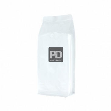 Flat Bottom Pouch shiny white (valve, no zipper) 110x280+{40+40} mm