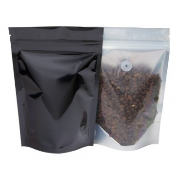 Stand up Pouch clear / black-235x345+{60+60} mm + valve