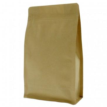 Flat Bottom Pouch brown kraft paper with front zipper