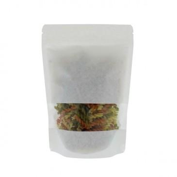 Stand Up Pouch white Kraft paper + full window-Aluminium free
