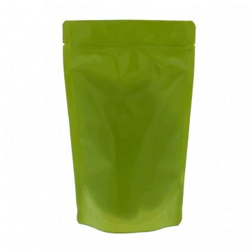 100% recyclable coffee pouches (recycling code 4) green