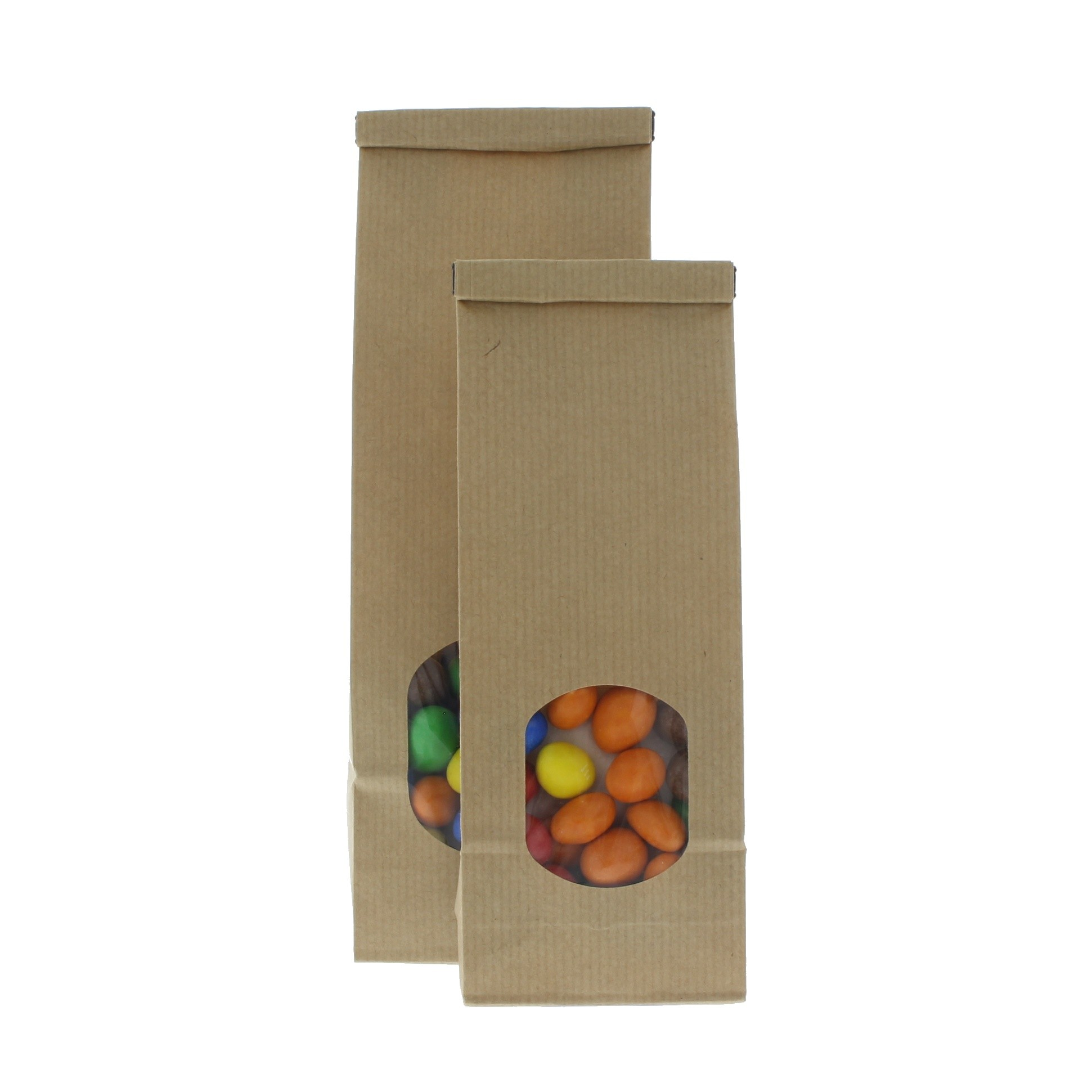 Block Bottom Bag Kraft Paper With Window Pouchdirect